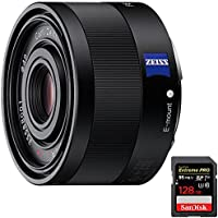 Sony Sonnar T FE 35mm F2.8 ZA Full Frame Camera E-Mount Lens (SEL35F28Z) with Sandisk Extreme PRO SDXC 128GB UHS-1 Memory Card