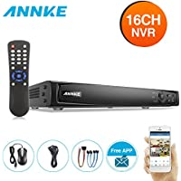 ANNKE 16CH 16 Ports PoE NVR, 1080p/3MP/4MP/5MP/6MP Network Video Recorder, Real-time live viewing, VCA Detection Alarm and Search, Supports up to 6TB HDD (Not Included)