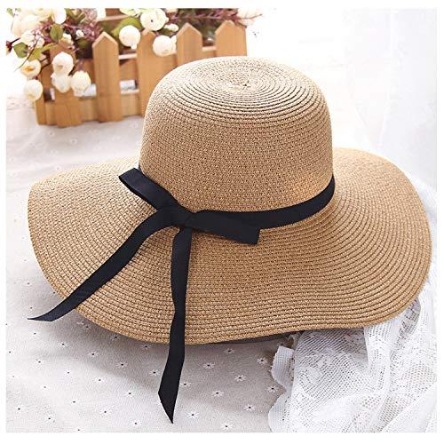 Women Wide Brim Floppy Foldable Sun Hats Beach Straw Hat Packable Sunhat Vacation Visor Cap Spring Summer Female Big Bow Caps,Khaki,56-58cm]()