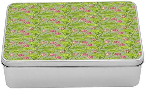 Ambesonne Botanical Tin Box, Floral Pattern Cartoonish Turmeric Flower Blossom, Portable Rectangle Metal Organizer Storage Box with Lid, 7.2
