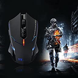Pictek 2400DPI Adjustable 2.4G Wireless Gaming Mouse with 7-Button - Black