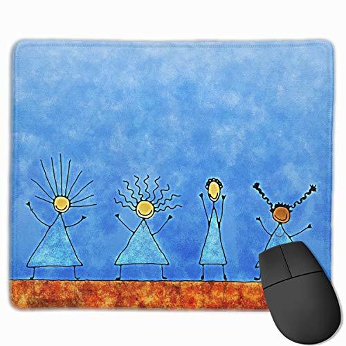 Kid Drawn Border - Non-Slip Mouse Pad Rectangle Rubber Mousepad Happy Kids Drawn Print Gaming Mouse Pad