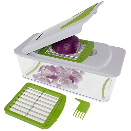 Freshware KT-406 7-in-1 Onion Chopper, Vegetable Slicer, Fruit and Cheese Cutter Container with Storage Lid and Mandoline