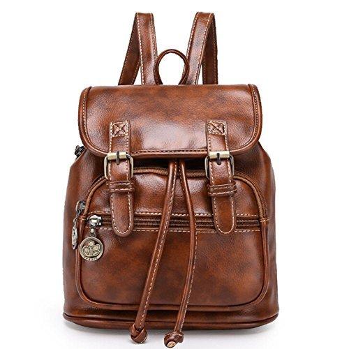 Angelliu Women's Vintage Retro Style PU Leather College School Bag Casual Mini Travel Backpack Satchel Brown