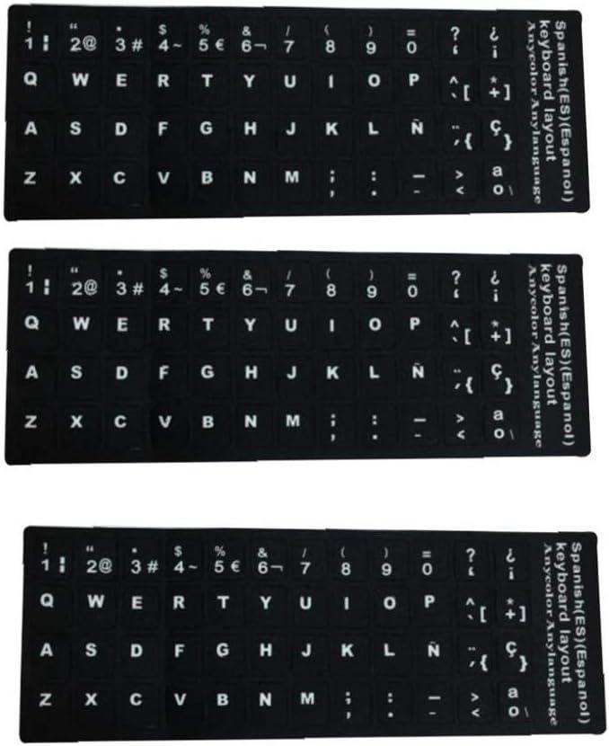 OMMO LEBEINDR Reemplazo del Teclado Español Etiquetas No Transparentes Pegatinas De Teclado Español con El Fondo Negro En Letras Blancas para Los ...