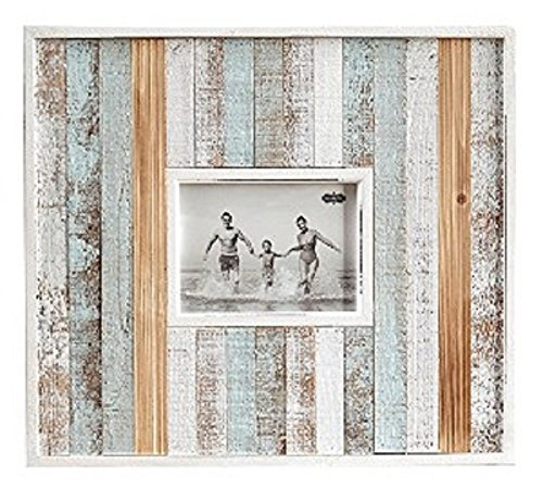 Mud Pie Large Striped Wooden Frame, 15.5 x 18 x 2 in, Holds 5″ x 7″ photo. Planked, distressed frame feature raised border edge and painted wood inset moulding. Photos insert through back and frames h
