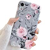 Electronics : YeLoveHaw iPhone XR Case for Girls, Flexible Soft Slim Fit Full-Around Protective Cute Shell Phone Case Cover with Purple Floral and Gray Leaves Pattern for iPhone XR 6.1 Inch (Pink Flowers)