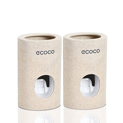 Automatic Toothpaste Dispenser Set Dustproof with Wall Mounted Kids Hands Free Toothpaste Squeezer for Family Washroom bathroom.FDA and LFGB Listed.2 Pack by Reabeam