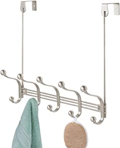 mDesign Decorative Over Door or Wall Mount 10 Hook Metal Storage Organizer Rack for Coats, Hoodies, Hats, Scarves, Purses, Leashes, Bath Towels & Robes - Satin