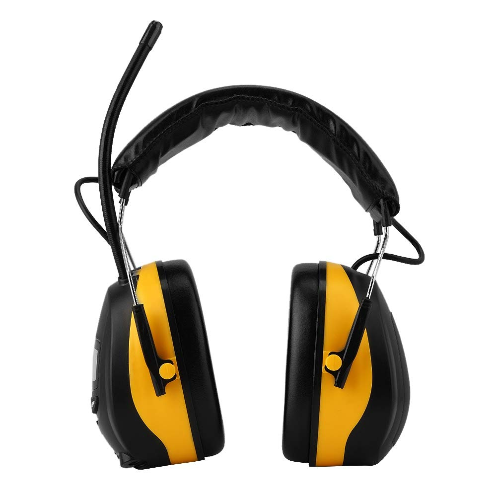 NRR 28dB Electronic Hearing Protector Safety Ear Muffs Adjustable Noise LCD Display AM FM Radio Earmuff Yellow
