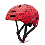 SKL Kids Helmet Skateboard Helmet Protective Gear Roller Skating Scooter Cycling Helmet with ABS shell for Children Youth (Red, 56-58cm)