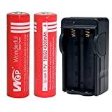 Mickeyattration Set WGP Wonderful Green Power 2 Pieces 18650 4200mah 3.7v US Smart Charger Combo for Cree Torch Flashlight Rechargeable Battery (Red)
