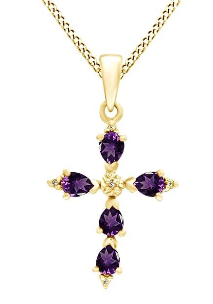 45c5489c606b AFFY Plata de ley (925 1000) Plata chapada en oro amarillo de 18 K talla  pera violeta amatista  Amazon.es  Joyería