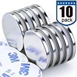 DIYMAG Powerful Neodymium Disc Magnets, Strong, Permanent, Rare Earth Magnets. Fridge, DIY, Building, Scientific, Craft, and Office Magnets, 1.26 inch x 1/8 inch, Pack of 10