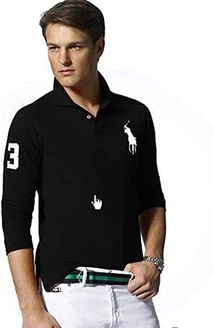 Ralph Lauren Polo de Manga Larga Big Pony Custom Fit (S, Negro ...