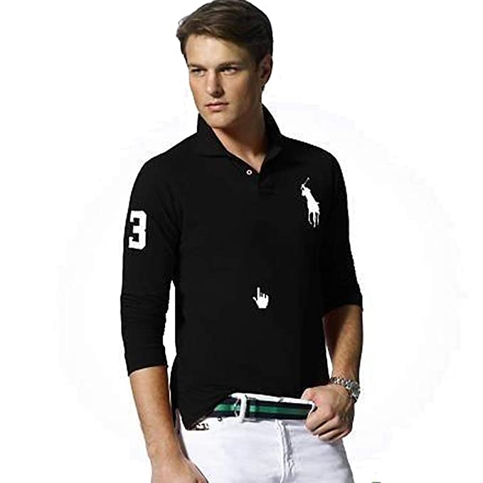 Ralph Lauren Polo de Manga Larga Big Pony Custom Fit (XXL, Negro ...