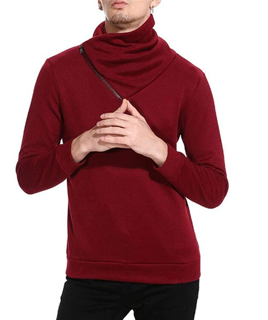 UUYUK Men Slim Fit Knitted Sweater Oblique Zipper Shawl Collar Long Sleeve