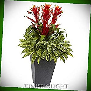 JumpingLight Tropical Bromeliad with Slate Planter Artificial Flowers Wedding Party Centerpieces Arrangements Bouquets Supplies 9