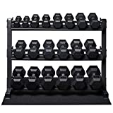 Rep 5-50 lb Rubber Hex Dumbbell Set with Rack and Free Rubber Mat