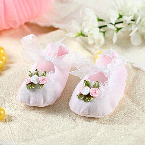 SwirlColor Neugeborene Baby-Schuhe-Baumwollschuhe für Baby mit schöner Spitze