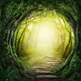 Yelewen 5x7ft Green Fairytale Forest Portraits Lovers Children Thin Vinyl Customized Digital Printed Photography Backdrop Prop Photo Background