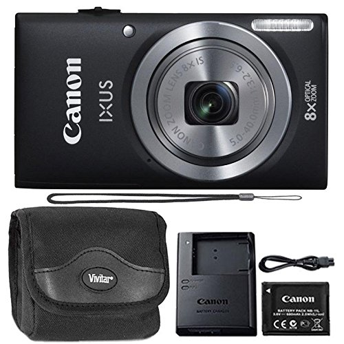 Canon IXUS 185 / ELPH 180 20MP Black Compact Digital Camera and Camera with Case by Teds