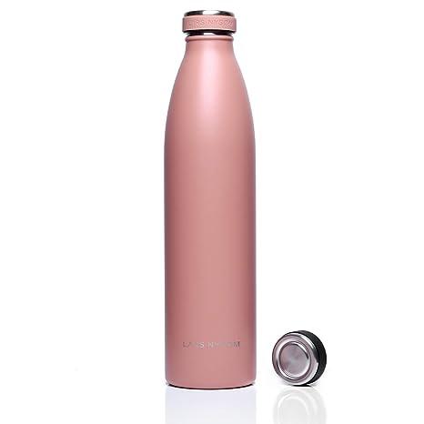 Lars NYSØM Botella de Agua de Acero Inoxidable de 1 litro Elements con Tapa de Repuesto | Botella hermética sin BPA | Botella de Agua a Prueba de ...