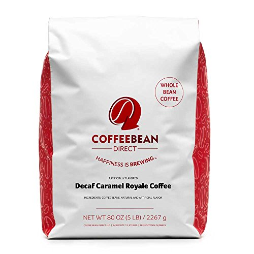 Coffee Bean Direct Decaf Caramel Royale Flavored, Whole Bean Coffee, 5-Pound Bag ()