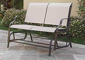 1PerfectChoice Outdoor Patio Yard Glider Loveseat Bench Dark Grey Textilene Mesh Seating Beige from Poundex