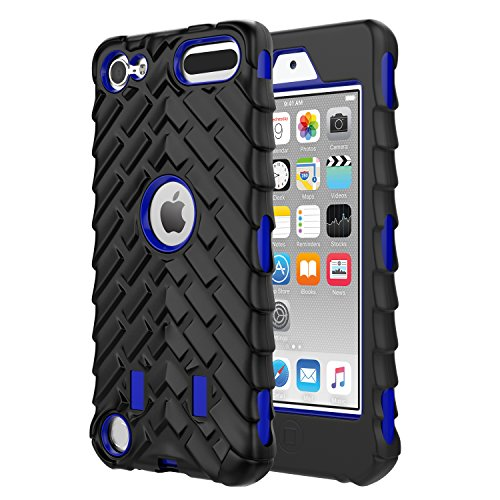MoKo Case Fit iPod Touch 2019 Released iPod Touch 7/iPod Touch 6/iPod Touch 5, 3 in 1 Heavy Duty Shock Absorbing Hybrid Bumper Protective Case Cover Fit iPod Touch 7th/6th/5th Gen - Blue
