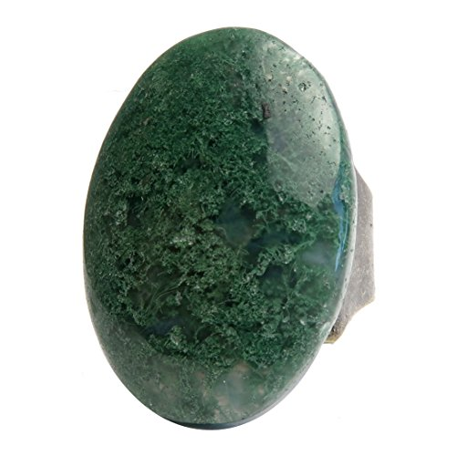 SatinCrystals Agate Moss Ring 5-11 Boutique Oval Genuine Gemstone Adjustable Bronze B02 (Green) ()