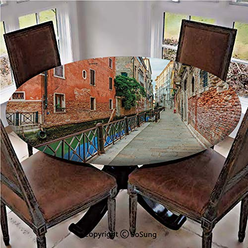 (Elastic Edged Polyester Fitted Table Cover,Empty Idyllic Streets of Venezia Travel Destination Romantic Vacation Old Buildings,Fits up 56