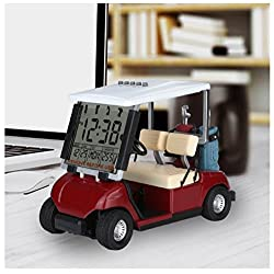 LCD Display Mini Golf Cart Clock for Golf Fans Great Gift for Golfers Superior Race Souvenir Novelty Golf Gifts(red) (1)
