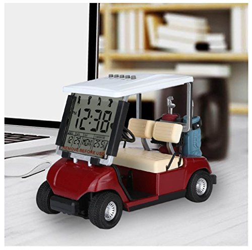 LCD display Mini Golf Cart clock for Golf Fans Great Gift for Golfers Superior Race souvenir novelty golf gifts(red) (1) ()