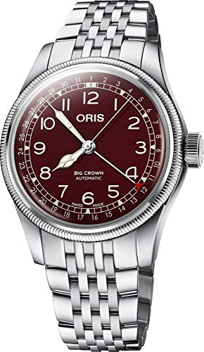 Oris Aviation Analogue Men's Watch (Red Dial Silver Colored Strap)