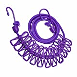 DECORA Portable Travel Home Style Outdoor Indoor Clothespins Use Windproof Clothesline with 12 pcs Clip Purple