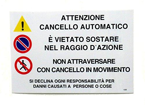 """CARTELLO """"ATTENZIONE CANCELLO AUTOMATICO"""" PLASTIFICATO 30X20 CM ALTA VISIBILITA' A DISTANZA"""