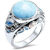 Phetmanee Shop Elegant Women Larimar White Pearl Sapphire Wedding Gifts Jewelry Ring size 6-10 (9)