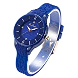 DR8986 Women Watches Silicone Strap Plastic Wristwatch for Ladies Waterproof Wrist Watch for Girls (Blue)