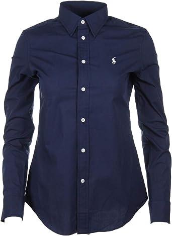 Ralph Lauren - Blusa ajustada para mujer, rosa, azul marino, blanco, azul a rayas: Amazon.es: Ropa y accesorios