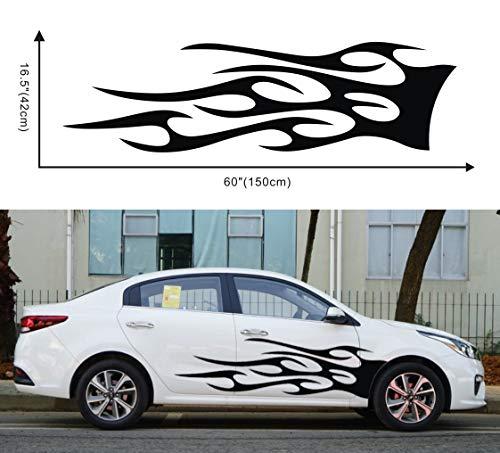 DSstyles 1 Pair Vehicle Car Truck Totem Flame Graphics Label Side Vinyl Body Sticker Cool Waterproof Auto Sticker Black