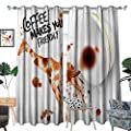 Coffee Art Window Curtain Drape Be Outgoing and Sociable Inspiration Hot Drink Friendly Giraffe Figure Decorative Curtains for Living Room Brown Orange Black