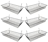 """Black Wire Basket for Pegboard, Slatwall or Gridwall (Set of 6), Merchandiser Baskets, Perfect For Commercial or Retailer, Black Vinyl Coated Wire Basket, 24"""" L x 12"""" D x 4"""" H, Shallow Baskets"""