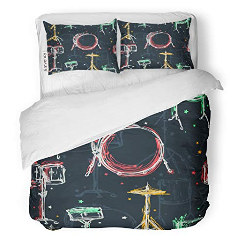 Semtomn Decor Duvet Cover Set Twin Size Beat Stars Drum Kit and Splashes in Watercolor Colorful 3 Piece Brushed Microfiber Fabric Print Bedding Set Cover -