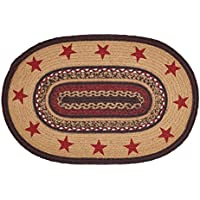 VHC Brands Classic Country Primitive Flooring - Landon Tan Stenciled Stars Oval Jute Rug, 18 x 26