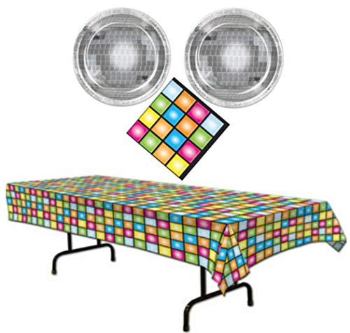 Disco Ball 70's Party Supplies Themed Paper Plates, Napkins and Table Cover Serves 16 Guests -