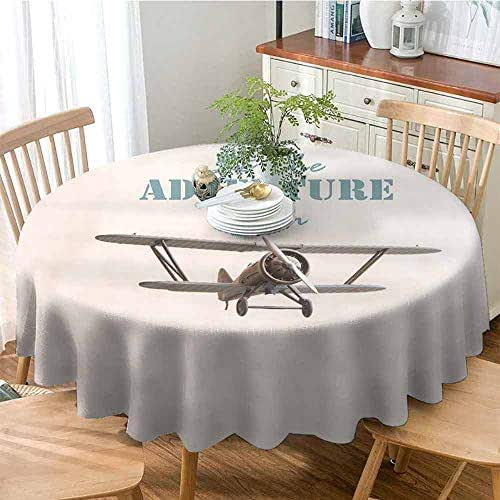 ONECUTE Washable Polyester Round Tablecloth,Cover for Outdoor Indoor Use,Adventure Let The Adventure Begin Inscription and Biplane Tropical Summer Vacation Cream Turquoise Tan 35