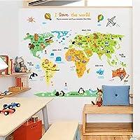 ملصقات جدارية خريطة عالم الحيوانات ملونة لغرف الأطفال من الفينيل لغرف الأطفال، ملصقات جدارية قابلة للإزالة لتزيين المنزل