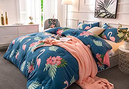 Autumn Owl, Blue, Twin 60x80 KFZ Quilt Winter Warm Comforter Water Cotton Bedspread Bed Cover for Bedding Set Quilt YJY Twin Full Queen King Flamingo Rabbit Owl Cat Panther Design 1pc