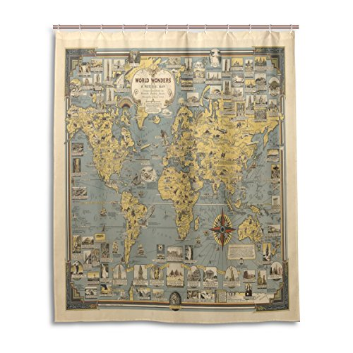 ZOEO-World-Map-Bath-Shower-Curtain-60x72-Inch-Vintage-Ancient-Buildings-Culture-Art-World-Map-Compass-Waterproof-Polyester-Fabric-Bathroom-Curtain
